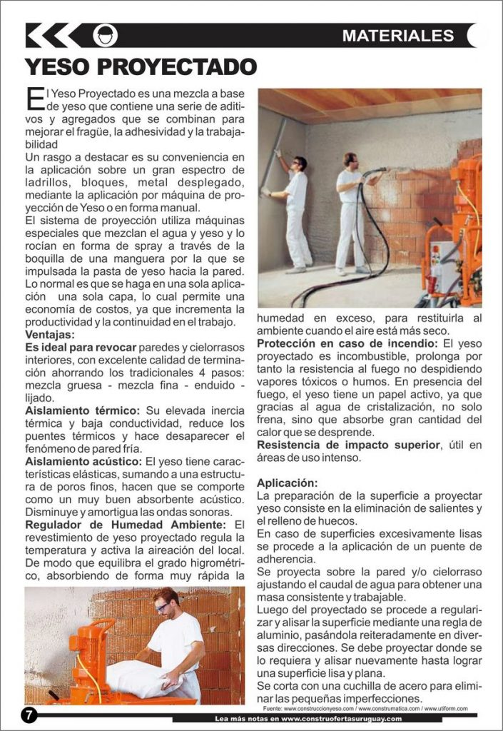 Materiales: Yeso Proyectado